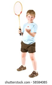 Young boy playing badminton, isolated on white.