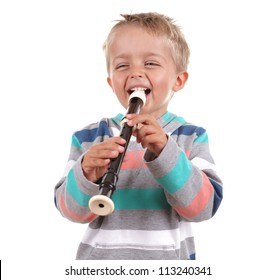 Young boy practicing his recorder on white background