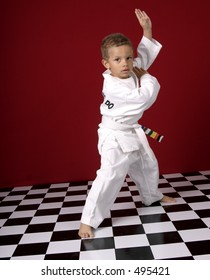 Young boy practicing martial arts