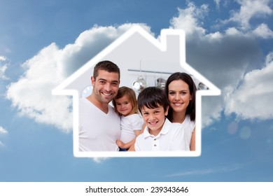 Young boy preparing food with his family against cloudy sky