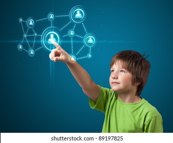 young boy pressing modern social buttons on a virtual background