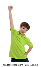young boy raising fist in the air white background