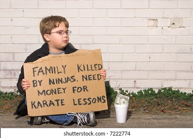 A young boy raising money for karate lessons.