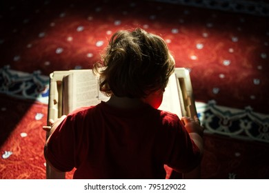 Young boy reading a book (Quran)