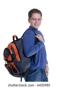 A young boy ready for school. Isolated on white.