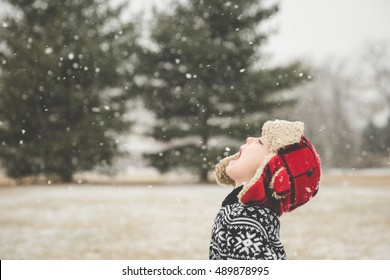 Young boy in red plaid hat trying to catch snow on his tongue.