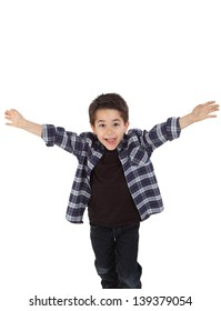 Young boy running happy with open arms