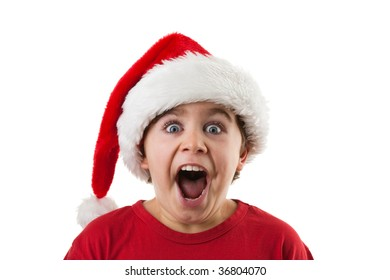 Young boy as Santa Claus isolated on white background