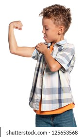 Young boy showing his muscles, isolated on white background