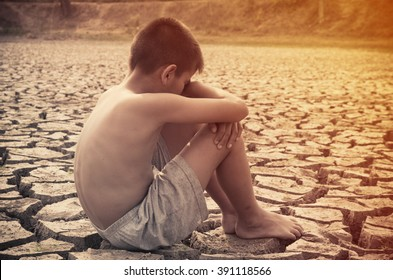 young boy sit down appeal from Godhead to arid dry of water