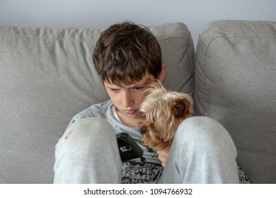 Young boy sitting in living room watching to his smartphone  with his dog by his side