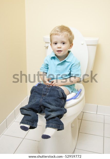 Prime Young Boy Sitting On Toilet Seat Stock Photo Edit Now 52959772 Bralicious Painted Fabric Chair Ideas Braliciousco
