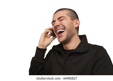 young boy smiling on mobile phone