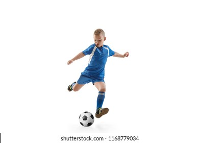 Young boy with soccer ball doing flying kick, isolated on white. football soccer players in motion on studio background. Fit jumping boy in action, jump, movement at game.