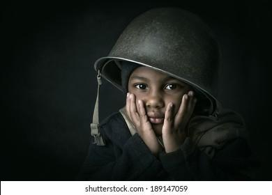 Young boy soldier portrait