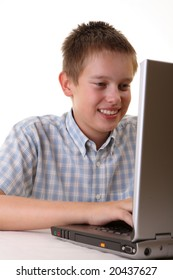 Young boy spending time with notebook