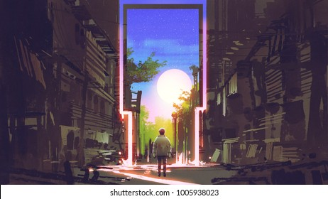 young boy standing in abandoned city looking at the magic gate with beautiful place digital & Teleport Door Images Stock Photos \u0026 Vectors | Shutterstock