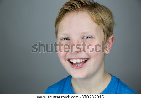 Young Boy Strawberry Blonde Hair Blue Stock Photo Edit Now