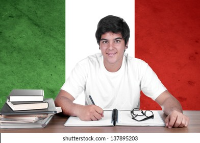young boy student on the background with Italian national flag. Italian language learning concept