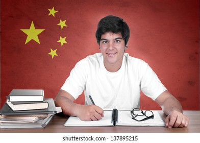young boy student on the background with Chinese flag. chinese language learning concept