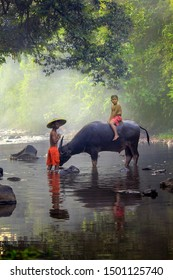 Young boy with their buffalo at beautiful river in Bogor West Java Indonesia. 04 08 2019