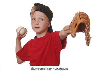 Young boy throws a baseball on white background