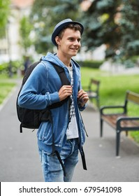 Young boy in urban environment, casual dressed