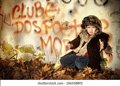 Young boy in a war zone crying for help