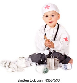 Young boy wearing as doctor
