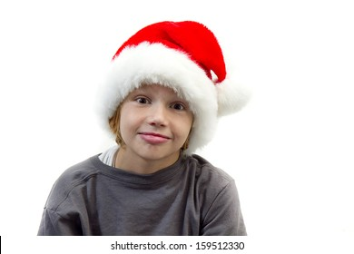 Young boy wearing Santa's Hat