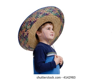 Young boy wearing a sombrero thinking about his vacation, isolated on white