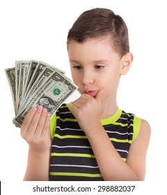Young boy wondering what to do with money