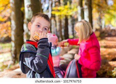 Young boy in the woods, eating sandwich with his family.
