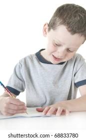 Young boy working on homework