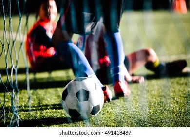 young boys of football academy. selective focus.