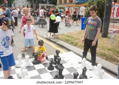 Young boys play chess in City of Tbilisi-country -Georgia.2019 year.