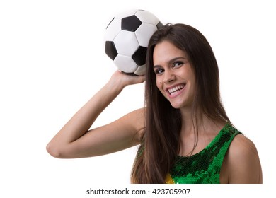 Young Brazilian woman fan holding soccer ball on white background