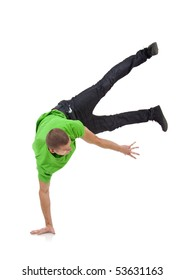 a young  break dancer showing his skills on a white background