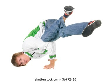 young  breakdancer posing. Isolated over white background.