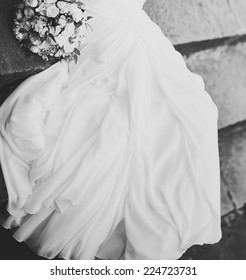 Young bride on wedding day. Black and white picture.