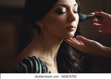 young bride preparing for the wedding ceremony