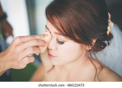Young bride with wedding makeup