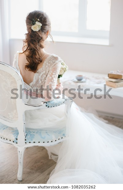 Young Bride White Wedding Dress Sits Stock Photo Edit Now 1082035262