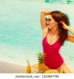 Young bright brunette fasion woman relaxing in swimming pool spa. Vacation and rest in tropical Thailand. Exotic beauty. Poolside party. Glitch effect.