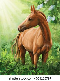 A young brown horse in the morning forest near the flowering bushes.