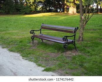 A young brown wooden bench in the park.