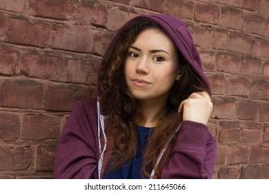 Pretty Teenage Girl Curly Brown Hair Stock Photo Edit Now