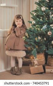 Young brunette dolly lady girl stylish dressed cozy warm winter gray jacket with fur posing sitting standing in studio close to Christmas New Year tree and presents