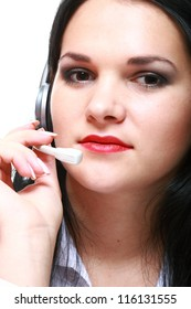 young brunette girl with headphones isolated