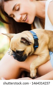 Young brunette girl with a little puppy french bulldog. Play and have fun in the summer park.